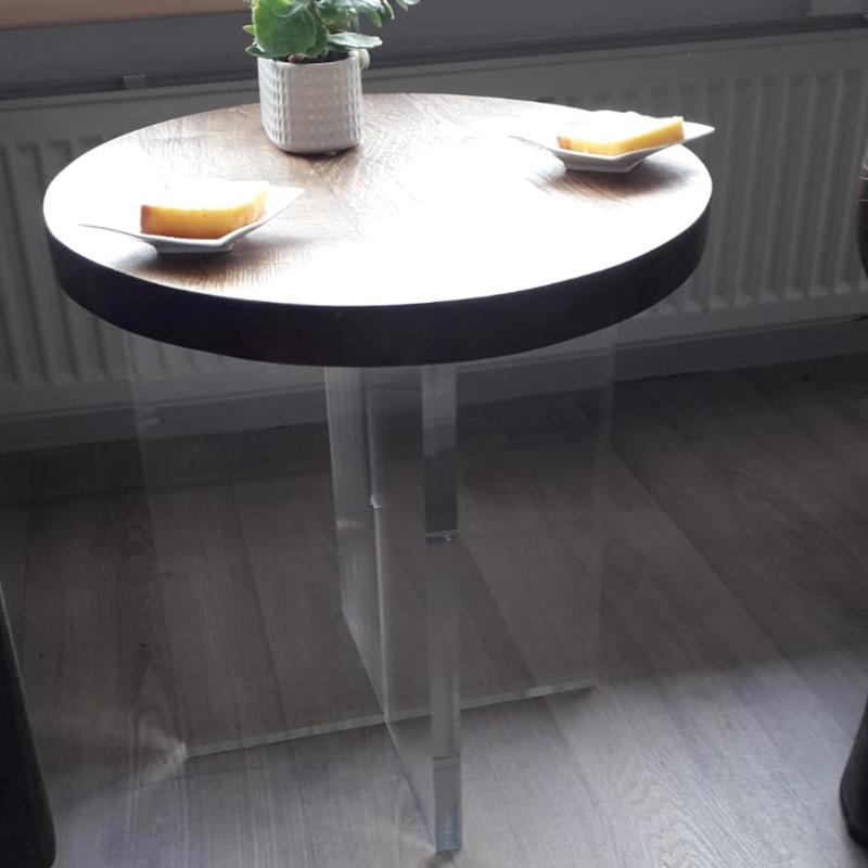 Plexiglas bijzettafel met houten blad