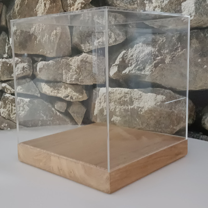 Plexiglas showvitrine met houten plateau in premium kwaliteit